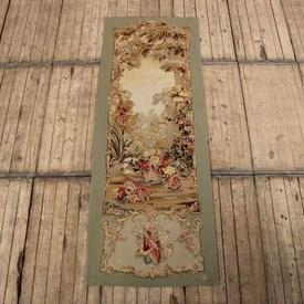 """3'8"""" X 8' Pale Green Border Aubusson Wall Panel With Floral Garden Scene. (Y)"""