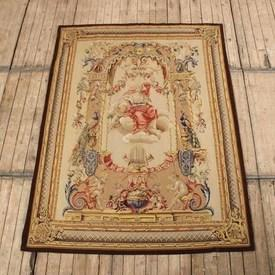 """5'7"""" X 7'7"""" Brown Framed Fine Aubusson Wall Hanging, Goddess On Cloud With Cupid. (Y)"""