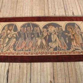 """10'x 4'11"""" King Herod & The Innocents Tapestry With Burgundy Border (Y)"""