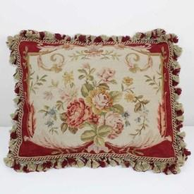 "20""X 16"" Cream & Terracotta Floral Needlework Cushion With Tassels (Y)"