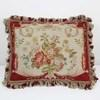 "20""X 16"" Cream & Terracotta Floral Needlework Cushion With Tassels (Y)"