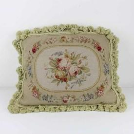 "18""X 14"" Cream & Pale Green Floral Needlework Cushion With Tassels (Y)"