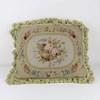 "18""X 14"" Cream & Pale Green Floral Needlework Cushion With Tassels (Y)"