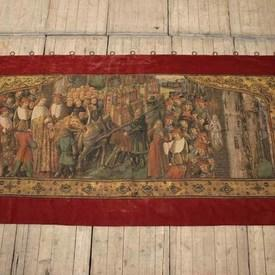 """9'5"""" X 4'10"""" Tapestry Of Kings Parade With Red Velvet Border  (Y)"""