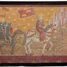 "4'7""  x  6'3"" King on White Horse with Army Painted Tapestry with Brown Velvet Border"
