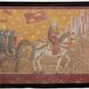 "4'7"" X 6'3"" King On White Horse With Army Painted Tapestry With Brown Velvet Border (Y)"