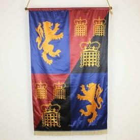 "4'8""  x  2'10"" Red, Blue & Black Silk Banner with Lions & Portcullis Pattern"