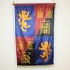 "4'8"" X 2'10"" Red, Blue & Black Silk Banner With Lions & Portcullis Pattern (Y)"