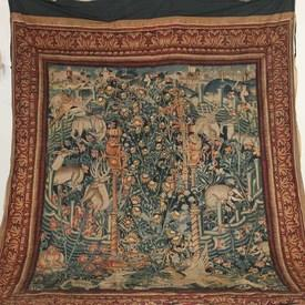 "9'8""  x  7'4"" Blue & Red Tapestry Of Animals in Garden"