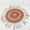 "2'6"" Circular Cream & Pink Embroidered Tasseled Table Cover  (Y)"