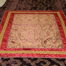 """12'  x  9'3"""" Plum Velvet Bedcover with Red & Gold Sq Patt"""