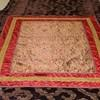 "12' X 9'3"" Plum Velvet Bedcover With Red & Gold Sq Patt  (Y)"
