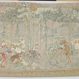 "6'3""  x  4'2"" Cream & Green Faded Forest Hunting Scene with Deer & Dogs"