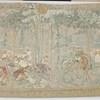 "6'3"" X 4'2"" Cream & Green Faded Forest Hunting Scene With Deer & Dogs (Y)"