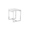 Square Chrome Frame 'michaelangelo' Lamp Tables With White Marble Top (50 Cm H X 42 Cm X 40 Cm)