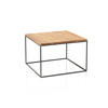 Square Black Steele Lamp Table With Wooden Top (40 Cm H X 60 Cm X 60 Cm)