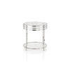 Chrome Ribbed Lamp Table With Glass Top (50 Cm H X 48 Cm)