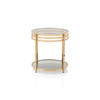Brass Ribbed Lamp Table With Glass Top (50 Cm H X 48 Cm)