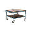 Square Planked Top & Blue Handle Coffee Table On Castors  (, Vintage)