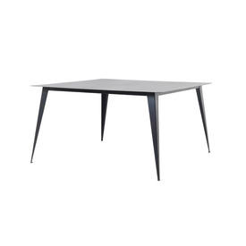 Square Black Steele Dining Table with Tapered Leg