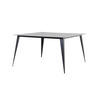 Square Black Steele Dining Table With Tapered Leg ( H: 76cm L: 140cm W: 140cm )