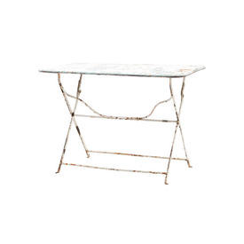 Rect Blue & White Aged Metal Table