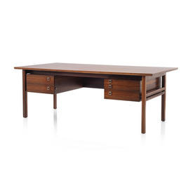 Rosewood 1960S 5 Drawer Desk with Square Silver Hanldes