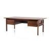 Rosewood 1960's 5 Drawer Desk With Sq. Silver Hanldes (204 Cm X 105 Cm X 73 Cm H)