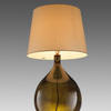 Garrata Olive Glass Bottle Lamp With Cream Shade