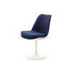 Blue Fabric And White Lacq. Tulip Base Saarinen Dining Chair