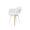 Perspex Shell Chair With White Metal & Wood Insert Legs ( H: 81cm W: 63cm D: 60cm )