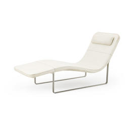 White Leather ''Landscape'' Chaise with White Leather Headrest
