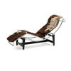 Brown & Cream Pony Hide & Chrome Le Corbusier Chaise