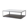 Rect. Pewter Grado Coffee Table With Eucalyptus Base & Smoked Glass Top (121 Cm X 82 Cm X 37 H)
