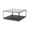 Square Pewter Grado Coffee Table With Eucalyptus Base & Smoked Glass Top (83 Cm X 83 Cm X 37 H)
