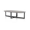 Curved Grey Oak Top Domino Next Coffee Table With Pewter Leg (140 Cm X 70 X 39 )