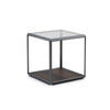 Small Square Pewter Grado Lamp Table With Eucalyptus Base  Smoked Glass Top (37 Cm X 37 X 37 Cm)