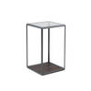 Large Square Pewter Grado Lamp Table With Eucalyptus Base  Smoked Glass Top (37 Cm X 37 X 57 Cm)