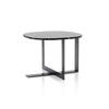 Pewter Domino Next Side Table With Black Marble Top (60 Cm X 60 X 45 Cm)