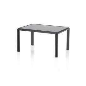 "Rect Pewter ""Jan"" Lamp Table with Black Marble Top"