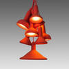 Red Cluster Of 10 Torch Hanging Lamp