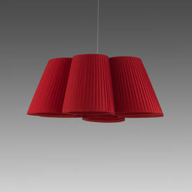 "Red Pleated Fabric ""Florinda 6"" Hanging Lamp"