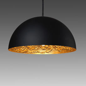 """Black Dome """"Moon"""" Hanging Lamp with Gold interior"""