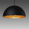 Black Dome 'moon' Hanging Lamp With Gold Interior