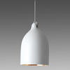 White Ceramic 'buffer' Hanging Lamp With Gold Inner