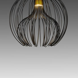 Large Black Wire ''Icaro'' Ball Hanging Lamp with Green Diffuser