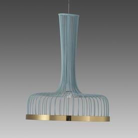 """Blue Wire & Brass """"Spider"""" Hanging Lamp"""