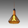 Amber Glass & Copper Hanging Lamp With Plumen Light Bulb