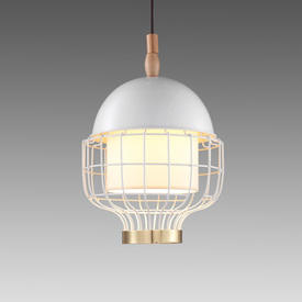 Small Ivory & Brass Magnolia Hanging Lamp