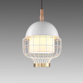 Small Ivory & Brass ''Magnolia Iii'' Hanging Lamp